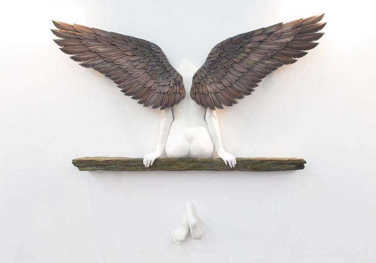 """""""Icarus had a sister"""" lifesize sculpture by Masters & Munn, 3d Print Show London. Combination of traditional and state of the art sculpting techniques."""