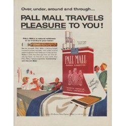 """1963 Pall Mall Cigarettes Ad """"Travels Pleasure"""""""
