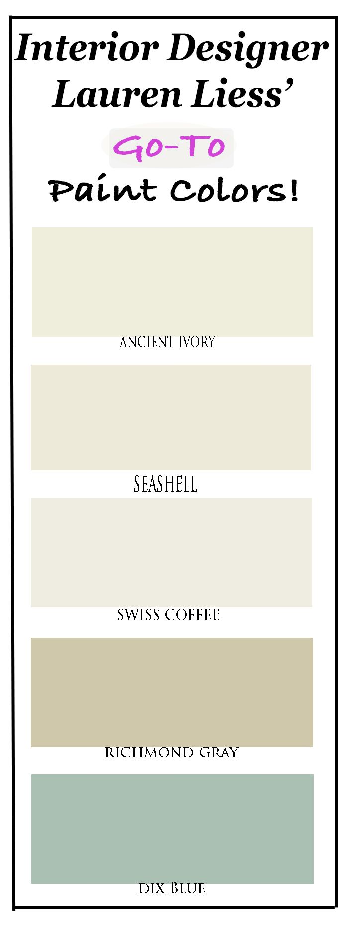 A Pro's  Go-To paint colors!  Neutral but rich paint colors for walls, bookcases, and cabinetry to add character to your home.  Come get  all the specifics at Provident Home Design!