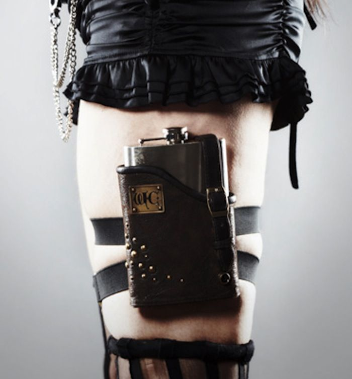 Thigh flask.  I could SO use this at cons. :~)