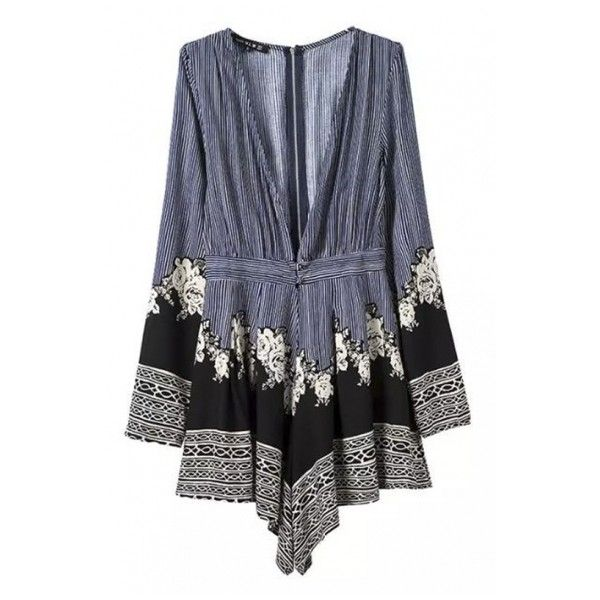 Deep V-Neck Stripes Floral Print Long Sleeve Romper (51 CAD) ❤ liked on Polyvore featuring jumpsuits, rompers, bh, jumpsuit, beautifulhalo, striped jumpsuit, long sleeve romper, long-sleeve rompers, long sleeve jumpsuit and playsuit romper