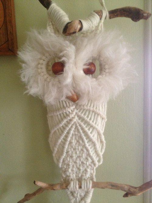 Vintage Macrame Owl Plant Hanger Macrame Macrame Owl