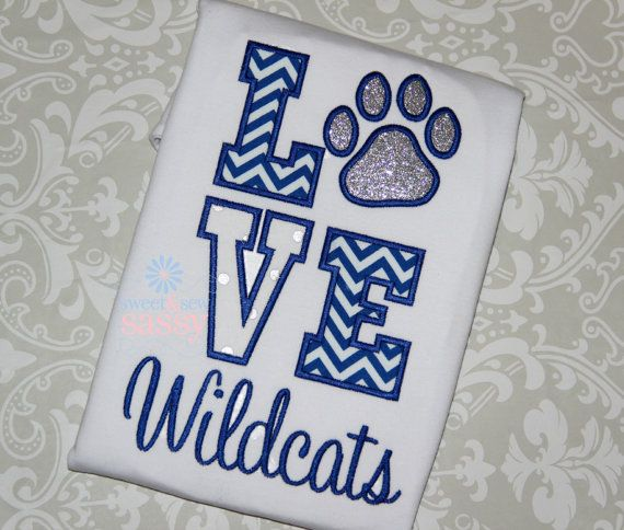 LOVE stacked applique shirt with Paw Print Wildcats - CATS - University of Kentucky