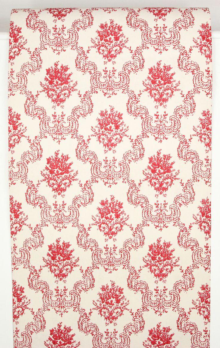 1960s Vintage Wallpaper Dark Red Rose Damask (With images