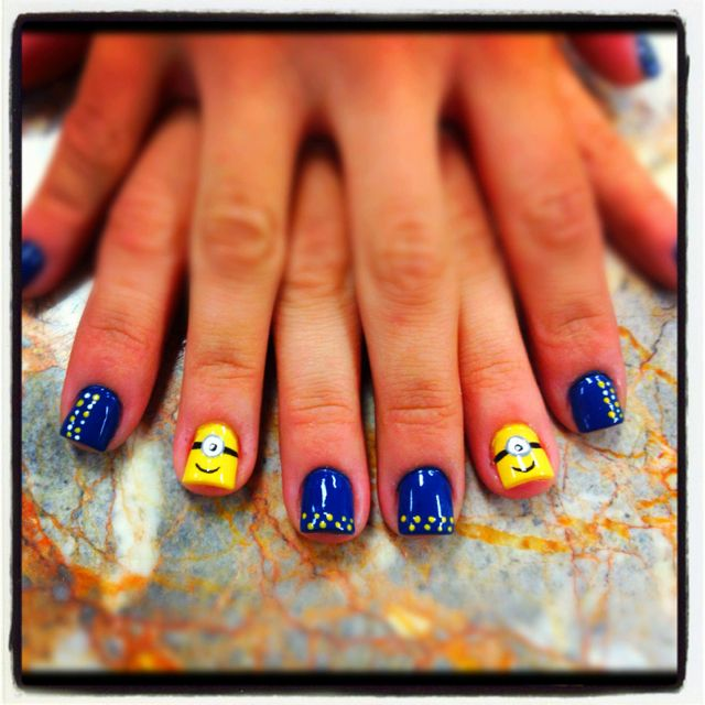 Minion nail art @Design & Happiness Kittiyachavalit Edwards DeSecki O'Connell these are too cute check out www.ThePolishObsessed.com for more nail art ideas.
