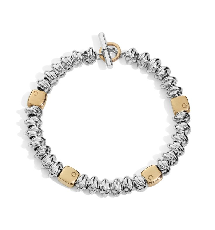 Nodini argento e mottarelli oro rosa  bracelet silver gift women gioiello moda fashion jewellery beautiful gold rose