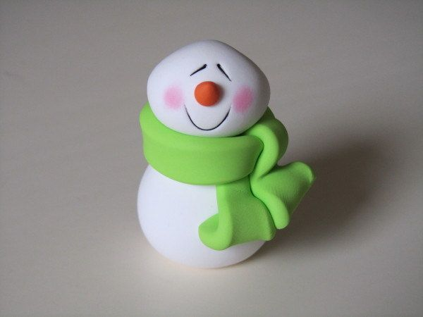 Polymer Clay Snowman Figure by ClayPeeps on Etsy, $8.00
