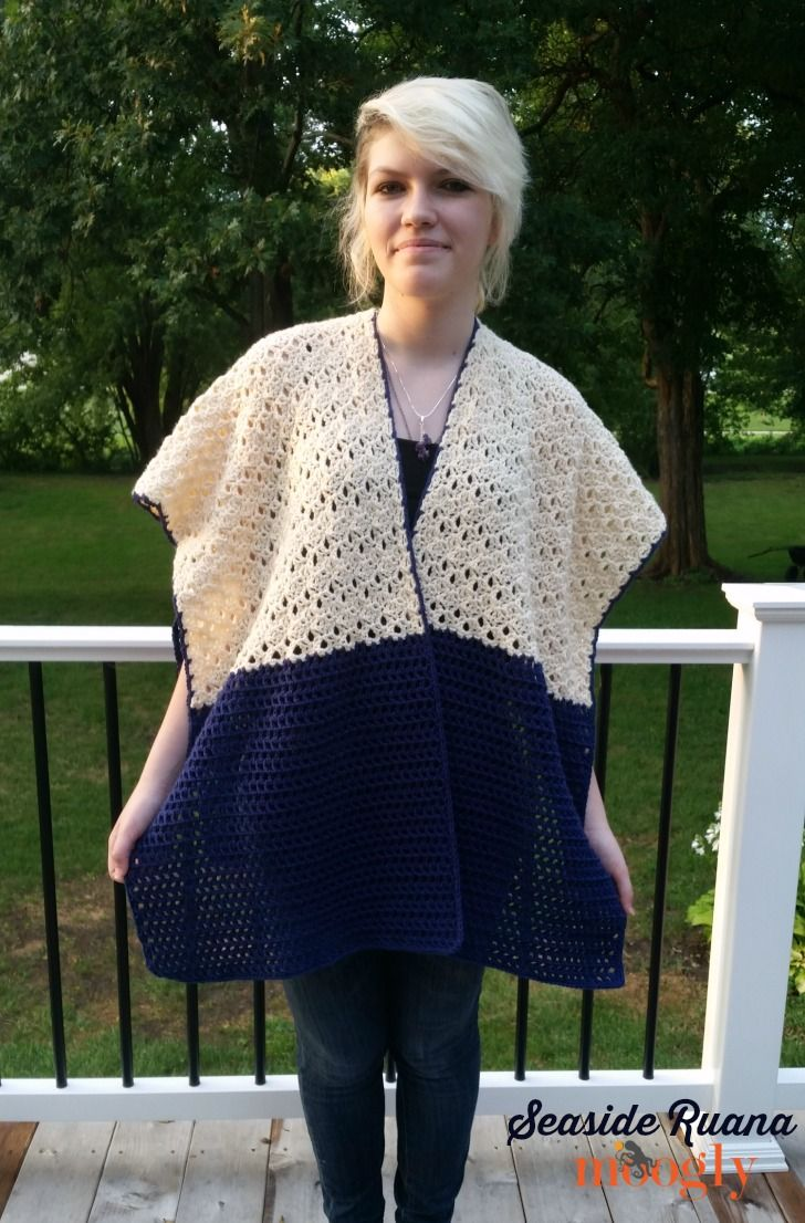 Seaside Ruana - free crochet pattern on Mooglyblog.com! #crochet patterns #wrap #shawl #fashion #sweater alternative #fall #winter #spring