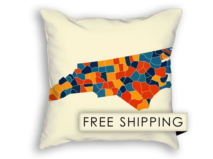 North Carolina Map Pillow - NC Map Pillow 18x18 (65.00 USD) by iLikeMaps