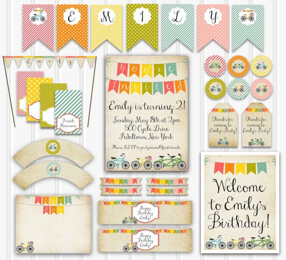 Vintage Bicycle Birthday Party Set Bicycle by YourPrettyParty, $24.00