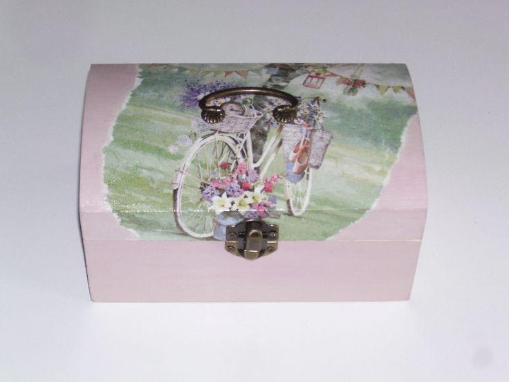 coffret à bijoux femme en bois gris et rose style vélo fleuri : Boîtes, coffrets par idees-cadeaux-d-ameline