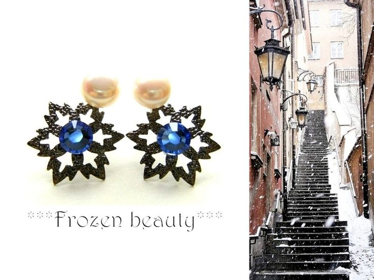 Hand-made snowflake earrings (swarovski elements/gun metal base/natural white pearls)Blue/White/Black