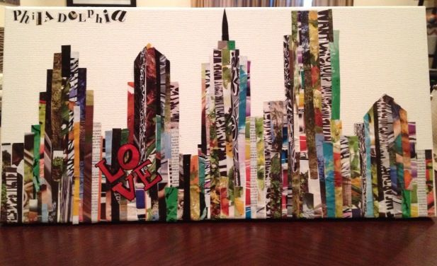 Draw a silhouette on canvas. Cut magazine strips and glue to fit inside the lines.