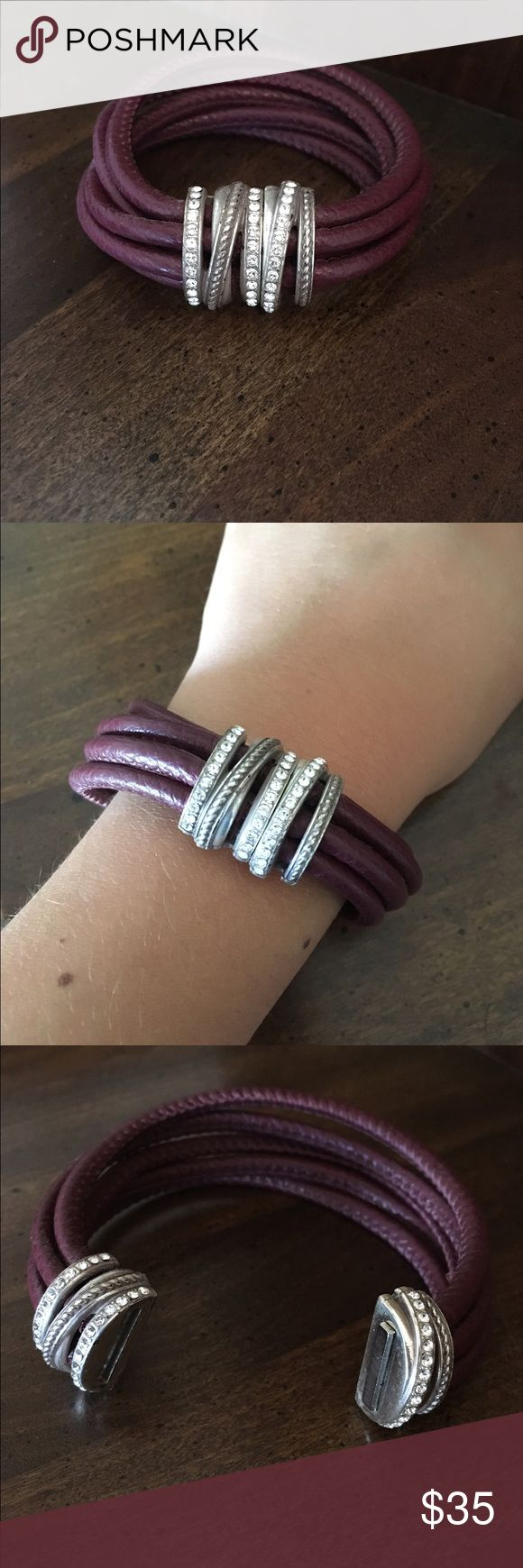 Magnetic bracelet Brighton leather bracelet from the Neptune's Rings collection. Swarovski crystal ornamentation that pulls apart and closes with a magnet. Sangria color Brighton Jewelry Bracelets