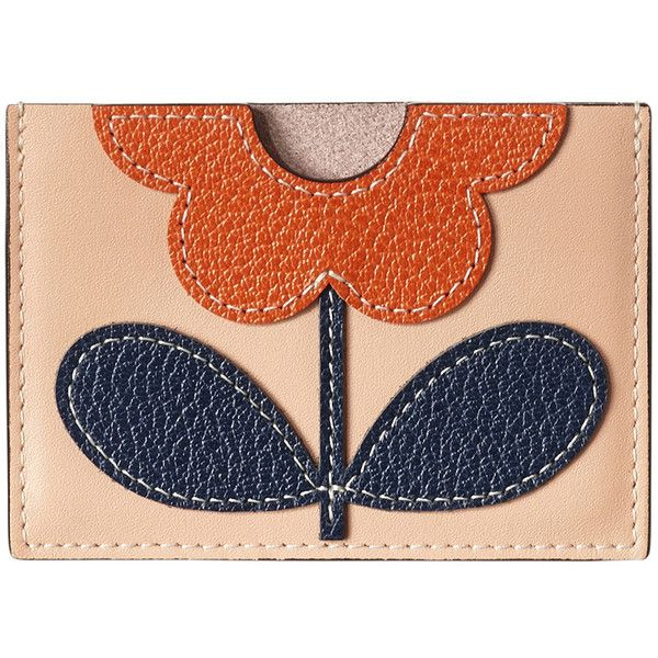 Orla Kiely Giant Flower Leather Card Holder - Marshmallow (100 AUD) ❤ liked on Polyvore featuring bags, wallets, pink, leather card holder wallet, floral print wallet, pink wallet, orla kiely wallet and real leather wallets