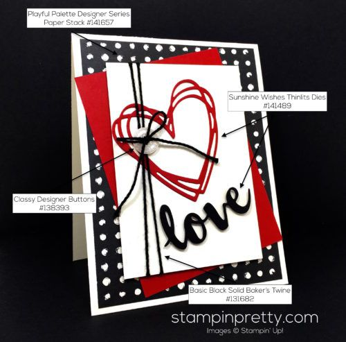Sunshine Sayings stamp set & Sunshine Wishes Thinlits Dies love card created by Mary Fish, Stampin' Up! Demonstrator.  1000+ StampinUp & SUO card ideas.  Read more http://stampinpretty.com/2016/06/stampin-up-sunshine-wishes-love-card.html