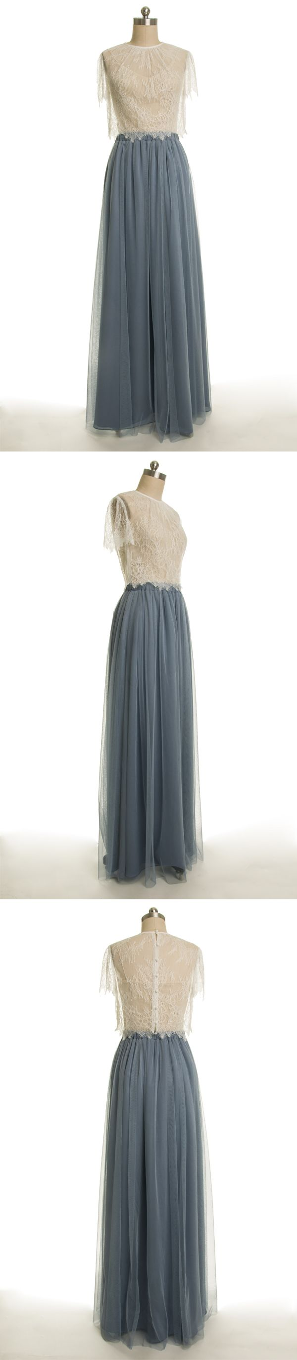 dusty blue long tulle bridesmaid dress