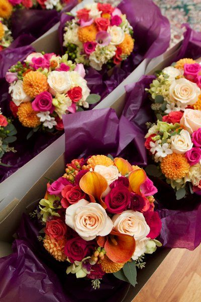 Elegant Summer Champagne Green Orange Pink Bouquet Wedding Flowers Photos & Pictures - WeddingWire.com