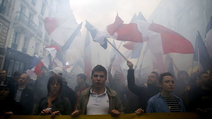 """A far-right rally has been held in Paris with hundreds of young people taking to the streets to join the demonstration organized by the French anti-immigration Generation Identitaire movement to protest against """"islamization.""""...,MAY16"""