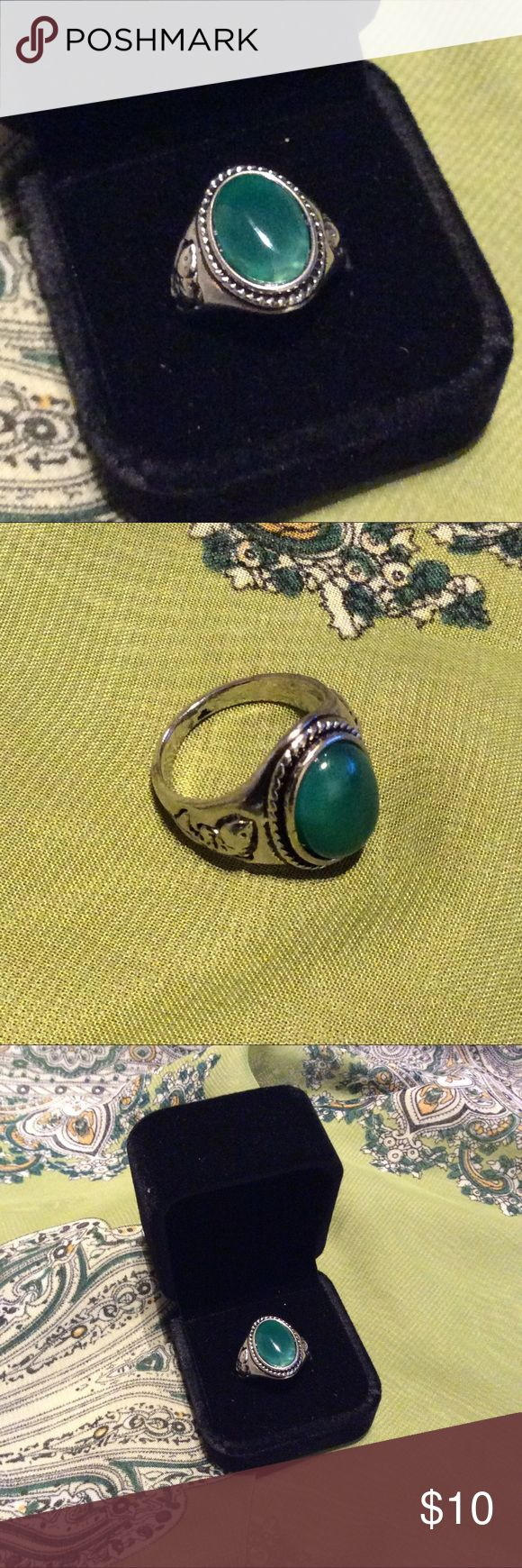 🌺  New Resin jade gemstone silver plated ring-7 Cute fun look for any occasion. Velvet box is not included. Resin jade gemstone silver plated. NWOT. Tribal gypsy hippie boho bohemian style. Just like free people, for love and lemons, spell and the gypsy collective. Not namebranded. NWOT Free People Jewelry Rings