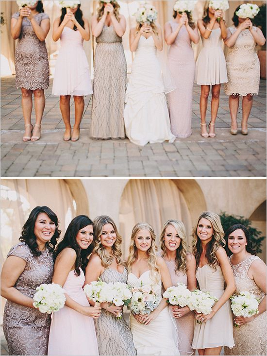 Assorted blush bridesmaid dresses. Captured By: Lauren Scotti Photography ---> http://www.weddingchicks.com/2014/06/06/shabby-chic-plaza-wedding/