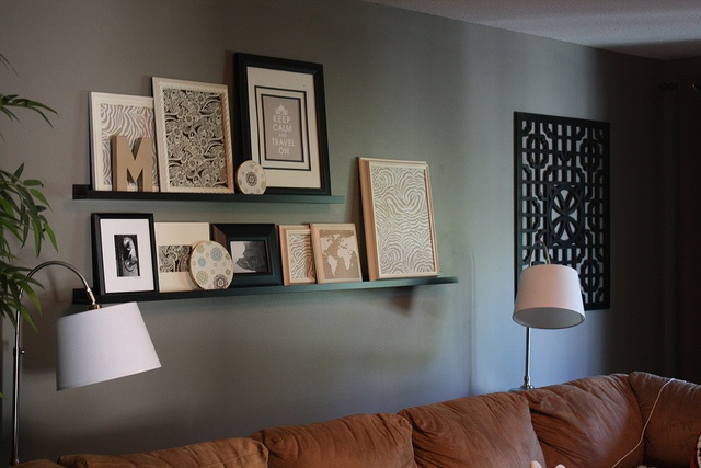 shelving w/ pictures/frames