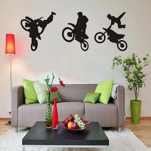 Motocross Trick - Vinyl Wall Art Decal Lettering Saying Stickers Decor Graphics Motorcross Sport Decoration DIY Wall Decal Mural Art Room Home