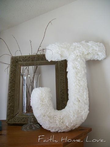 Monogram made from coffee filters... how simple and cute!