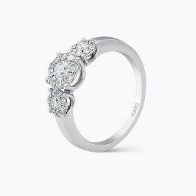 Sortija de oro blanco con diamante central con orlas de diamantes - Nuestras Joyas - JOYAS
