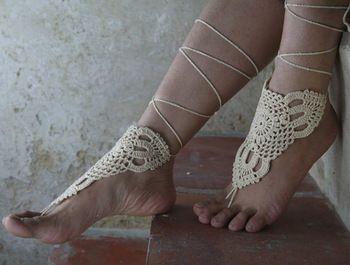 Слоновая кость босиком sandles пляж крючком сандалии крем для обуви sandle ноги украшения хиппи сандалии свадебные ну вечеринку настроить