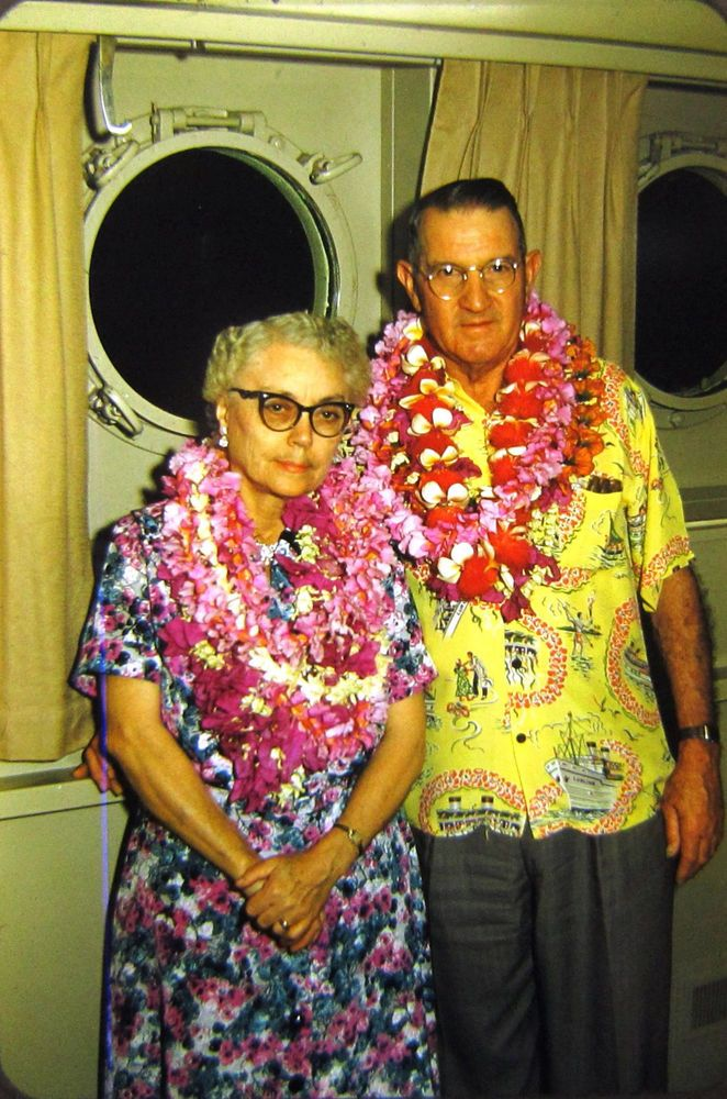 2 Kodachrome Color 35mm Slides 1950s Older Couple Cruise