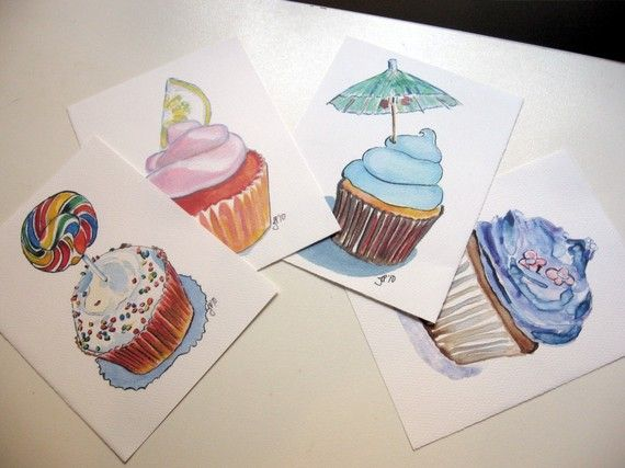 Postcard Prints - Cupcake Art Postcards (Ed. 3), Set of 8