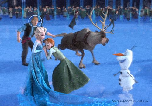 """So I was re-watching frozen, for the 100th time and noticed something new... My eyes have always been on Elsa and Anna in this scene, but if you pay attention to Kristoff you can see being the dork he is... he keeps starring at Anna until he ends up failing over Sven! I thought it was hilarious."""