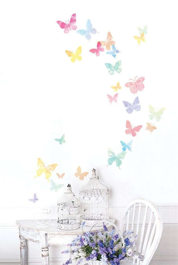 Hey, I found this really awesome Etsy listing at http://www.etsy.com/listing/158718465/watercolor-butterflies-removable-wall