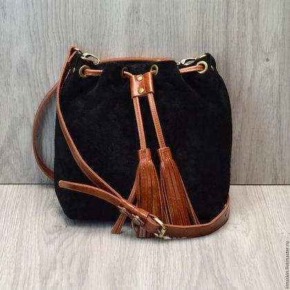 кожаная сумка торба на плечо, мягкая замшевая сумка торба, черная замшевая…