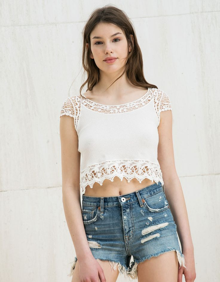 Top BSK cropped guipour - Tops - Bershka Mexico