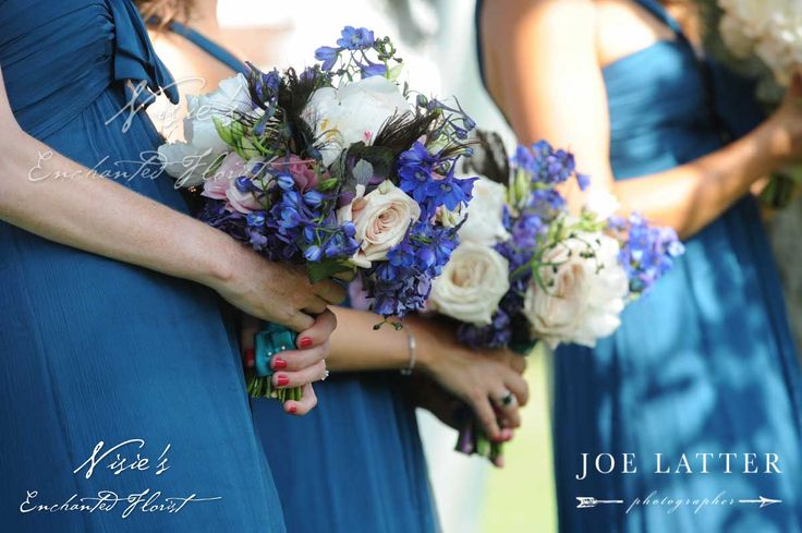 Nisie's Enchanted Florist -- As the Three Good Fairies from Sleeping Beauty would do... make the dress blue! something blue, make it blue, blue weddings, brides maid bouquets, bouquets, blue dresses, nisies enchanted, blue bridesmaids dresses