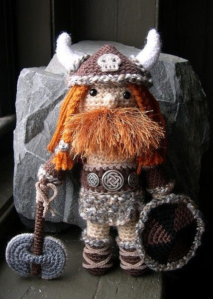 Amigurumi crochet Viking doll. (Inspiration).