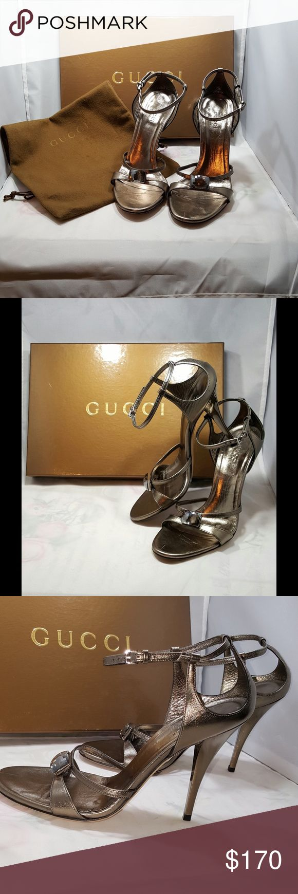 """❤️GUCCI❤️GUCCI👠‼️ SANDALS WOW these are sweet. Well whoever gets these is going to love them‼️ sexy shoes. I wore these 2 times. You can see the right foot is more worn than the left. I should have listened to my dad when he would yell """"PICK UP YOUR FEET WHEN YOU  WALK""""‼️ I am a foot shuffler, 😂 could be worse. I bought these at the GUCCI store at the Houston Galleria. I paid full price for these sweet little girls. I have dust bag and box. These go for a lot more than I'm asking on eBay…"""