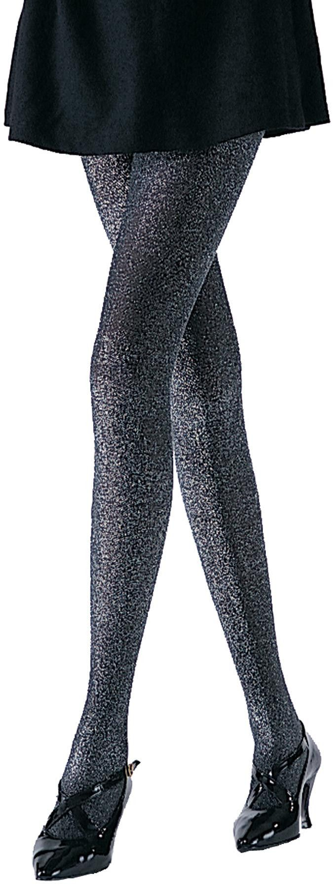 Glittery, shimmery lurex style tights. One size fits most. Box Dimensions (in Inches) Length : 7.00 Width : 7.00 Height : 7.00