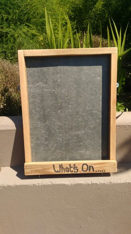 Chalk board made with scrap roof slate and cedar timber.