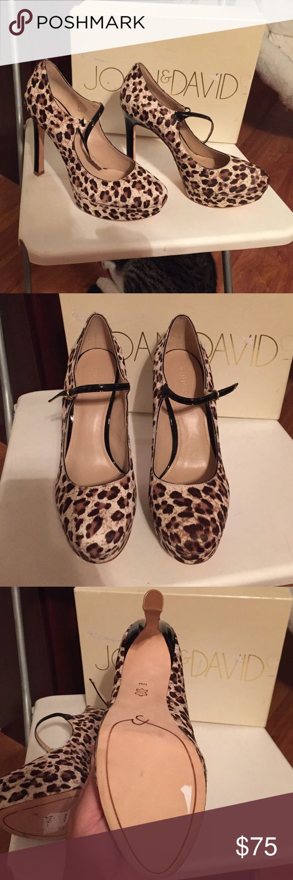 Snow leopard print Joan & David heels Never before worn Joan & David snow leopard print Mary Jane heels. Not good if you have a wide foot like me. They may run a bit on the small side....original price sticker still partially attached on the bottom where you can see they were originally $116 Joan & David Shoes Heels