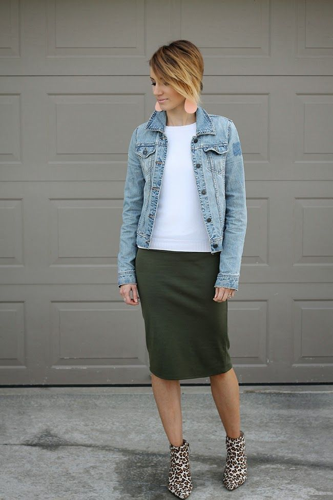 Olive pencil skirt, leopard booties, and denim jacket