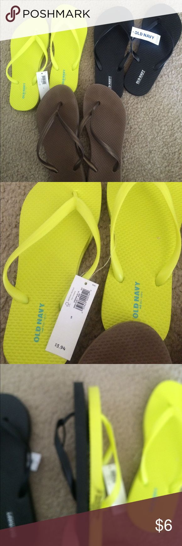 Old navy flip flop bundle size 5 Two brand new old navy flips flops. Blacks ones are labeled kids 3-4 but for size five see comparison picture. The neon pair are labeled size 5. The gold pair are used size 5 throwing them in here for free! Old Navy Shoes Sandals