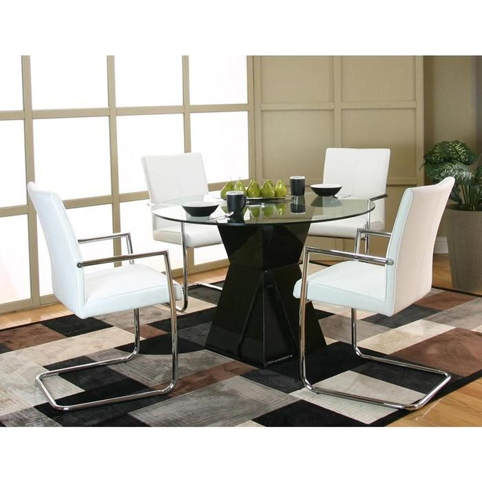Virgo 5 Piece Dining Set In Black White