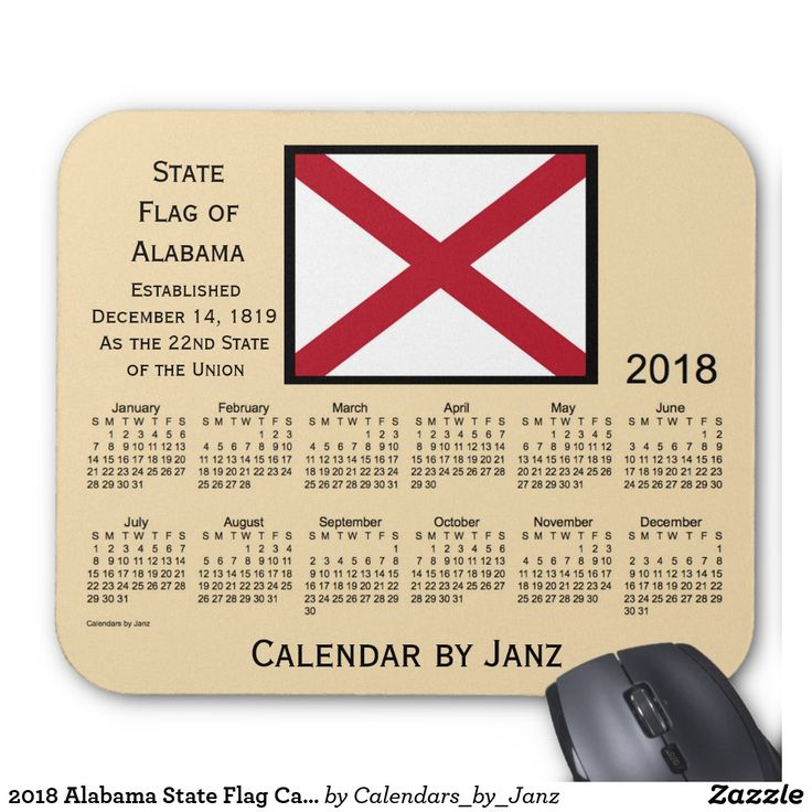 2018 Alabama State Flag Calendar by Janz Mouse Pad