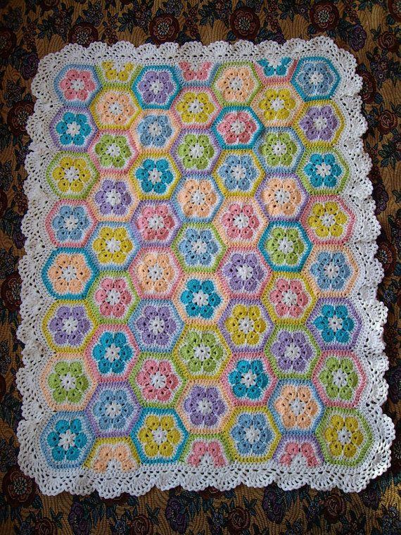 African flower Crochet Blanket Granny Square Afghan   Häkeln ...