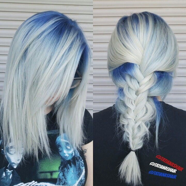 Blonde hair with blue roots #fishtailbraid #icyblonde