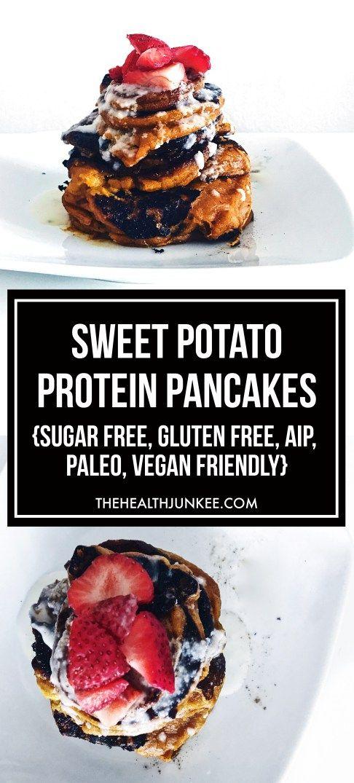 sweet potato protein pancakes   gluten free, sugar free, vegan, paleo   the health junkee