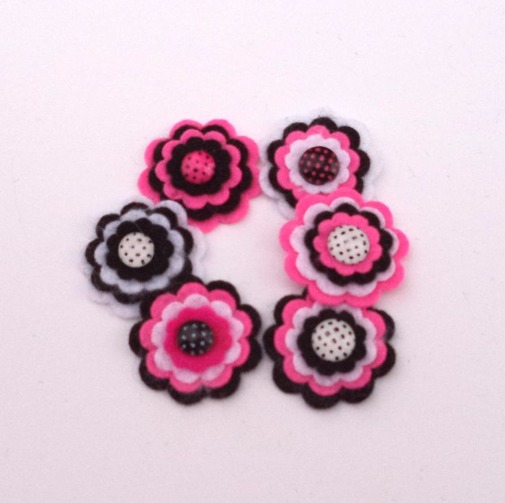 Hot Pink, White and Black Felt Flowers, Floral Embellishments, Scrapbook Supply, Card Making Supply Felt Embellishments, Set of 6 Flowers by Paperika on Etsy